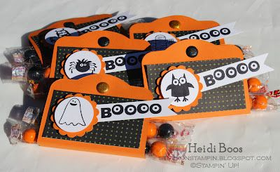 Treat Holder Tucked inside are black and orange Sixlets!  By:Stuck on Stampin