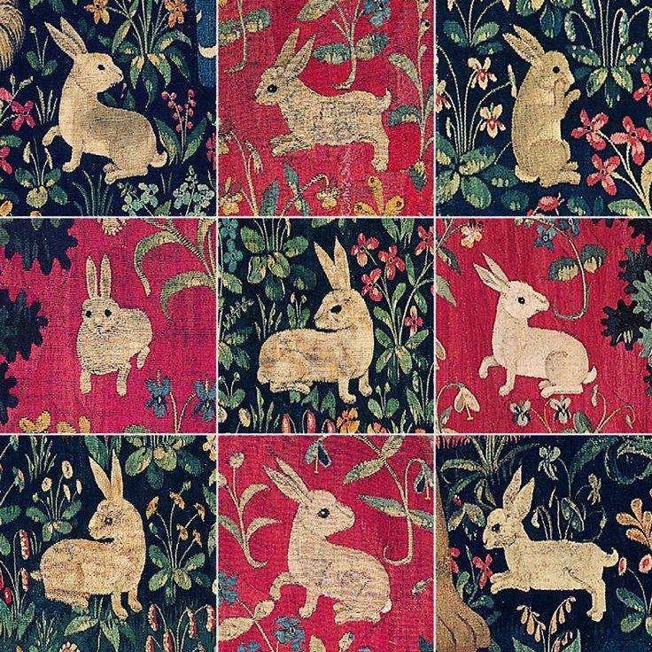 "Детали гобеленов ""Дама с единорогом""(музей Клюни, XV век)."