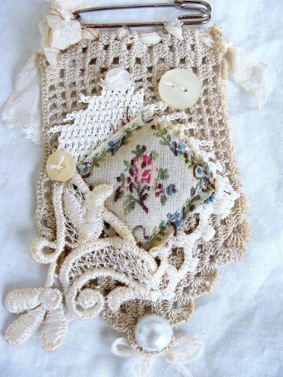 Vintage Lace and Crochet Kilt Pin Brooch Pendant от ShabbySoul