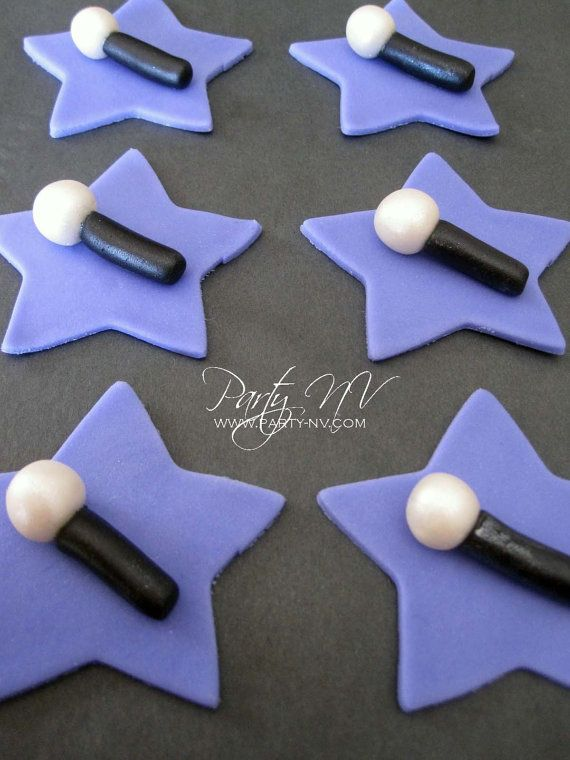 EDIBLE Fondant Toppers Rockstar Microphones by PartyNV on Etsy