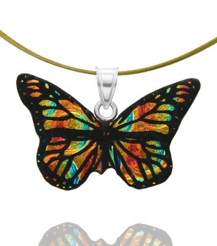 "Sterling Silver Dichroic Glass Smaller Orange and Yellow Butterfly Pendant Necklace on Stainless Steel Wire, 18"" Amazon Curated Collection. $18.00. Made in Mexico. Save 24% Off!"