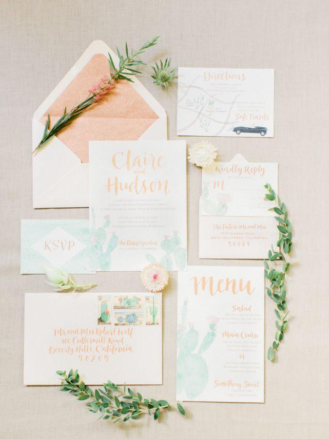 Turquoise and peach pastel wedding invitation paper suite: http://www.stylemepretty.com/little-black-book-blog/2016/11/04/palm-desert-wedding-inspiration/ Photography: Koman - http://komanphotography.com/