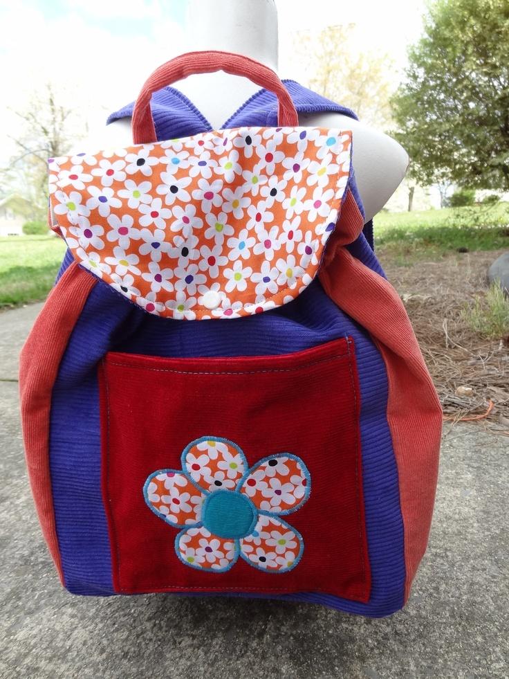 Big Kid Sized Backpack -- FLOWER POWER. $35.00, via Etsy.