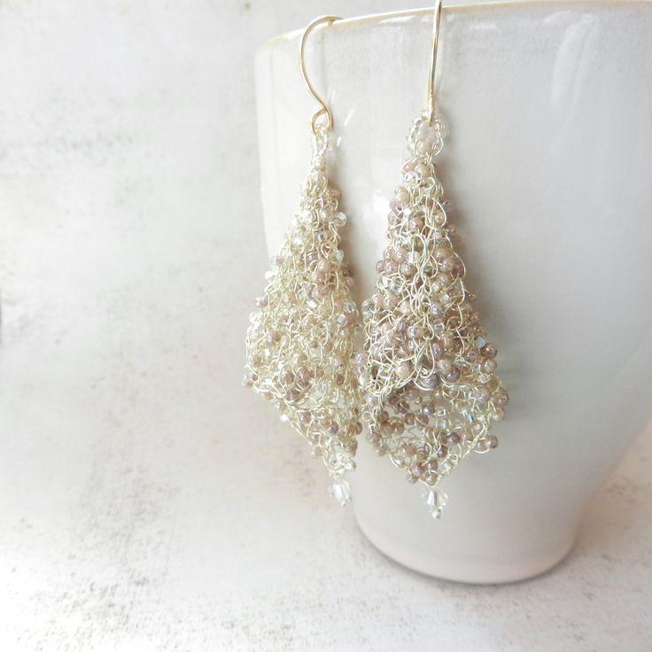 wire Crocheted jewelry   Wire Earrings, Prom Jewelry, Wire Crochet Jewelry, Wedding Jewelry ...