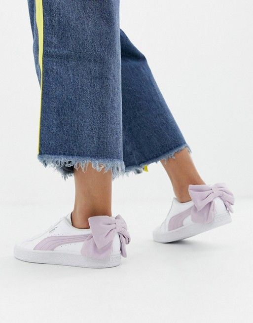 new product a9304 eedb3 Puma Basket Pink Bow White Sneakers | Ropa in 2019 | White ...