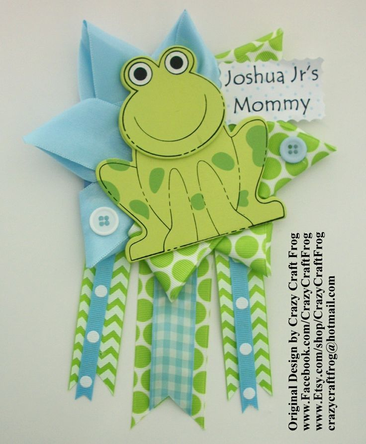 Frog Baby Shower Corsage by Crazy Craft Frog #frogbabyshowercorsage #babyshowercorsage #frogbabyshower