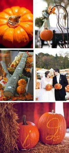 Fall Wedding. I love LOVE LOVE the idea of the pumpkins on a Shepard's hook. Definitely stealing that idea..