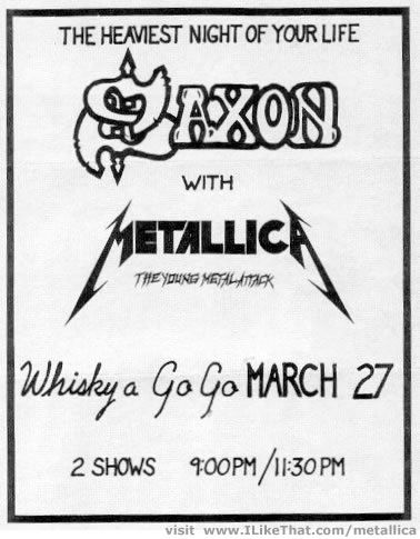 A Saxon gig flyer, back when Metallica was only a young band.