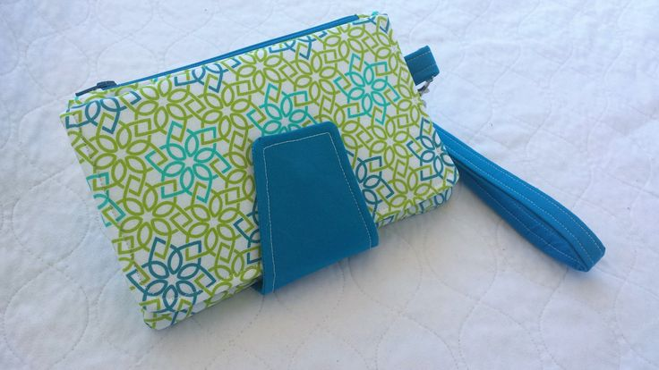 Blue & Green Geometric Swoon Pearl wallet, modern, ladies pocketbook, gifts for her, coin purse, wristlet clutch, carry all wallet