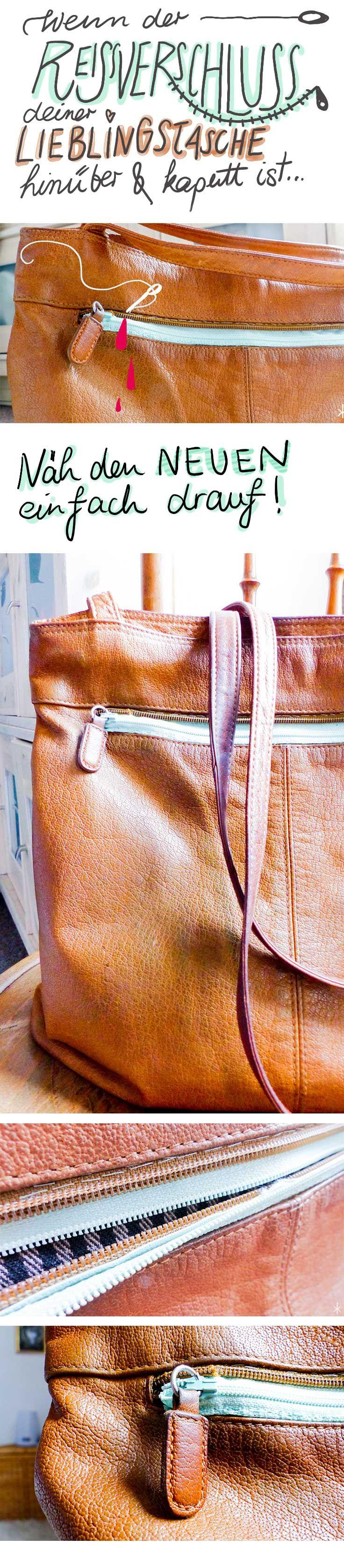 """Es macht """"zzzzzzupp"""" und der Zip ist kaputt? Dann kannst Du Deine Tasche zum Reparieren bringen – oder es selbst einfach versuchen. Die Anleitung zum Reißverschluss-auf-Reißverschluss-Nähen gibt es quasi idiotensicher im Blog  #diy #upcycling #zip #reißverschluss #tasche #handtasche #cognac #mint"""