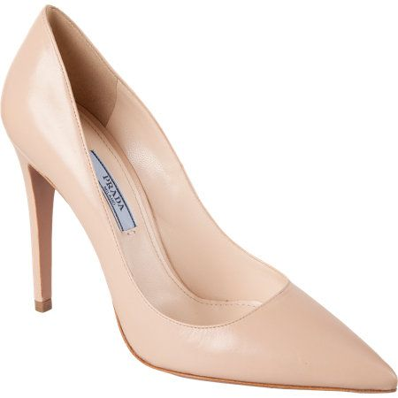 From Dress the Part: Nude pumps goes with about anything and we really love these Blue Jasmine  pointed-toe pump from Prada for $650