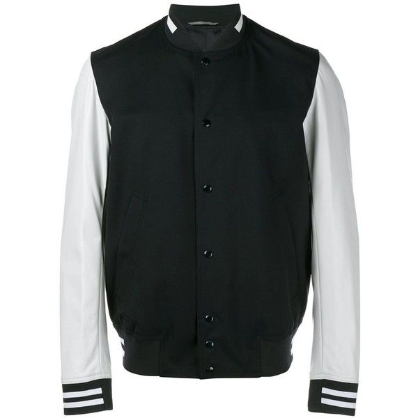Dior Homme two-tone varsity jacket ($2,030) ❤ liked on Polyvore featuring men's fashion, men's clothing, men's outerwear, men's jackets, blue, mens blue jacket and mens long jacket