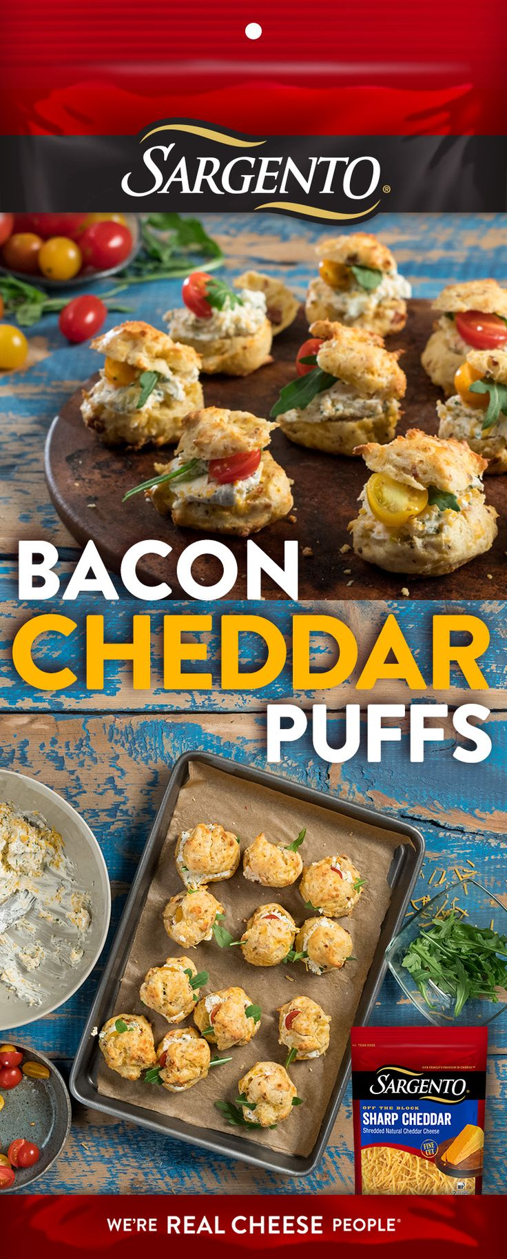 Try a new play for game time snacking. These Bacon Cheddar Puffs, made with Off-The-Block Sargento® shredded cheese, will have your whole team cheering.