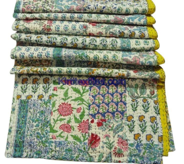 Fruit Flower Indian Traditional Designer Old Cotton Saree Patchworked Kantha Gudri Bedsperad Cum Throw From Jaipur India