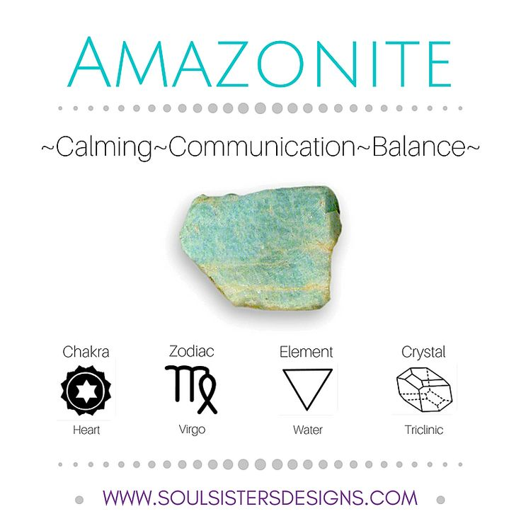 Metaphysical Healing Crystal Properties of Amazonite! Includes their associated Chakra, Zodiac Sign and Element, with additional information on Crystal Systems to assist you while setting up a crystal grid! Learn more at Soul Sisters Designs http://www.soulsistersdesigns.com