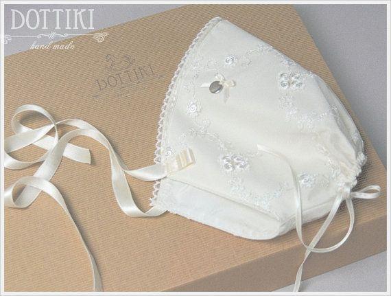 Baby Bonnet Silk Bonnet Silk and Lace Bonnet Baby Girl