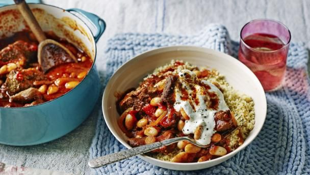 BBC Food - Recipes - Harissa spiced lamb with cannellini beans