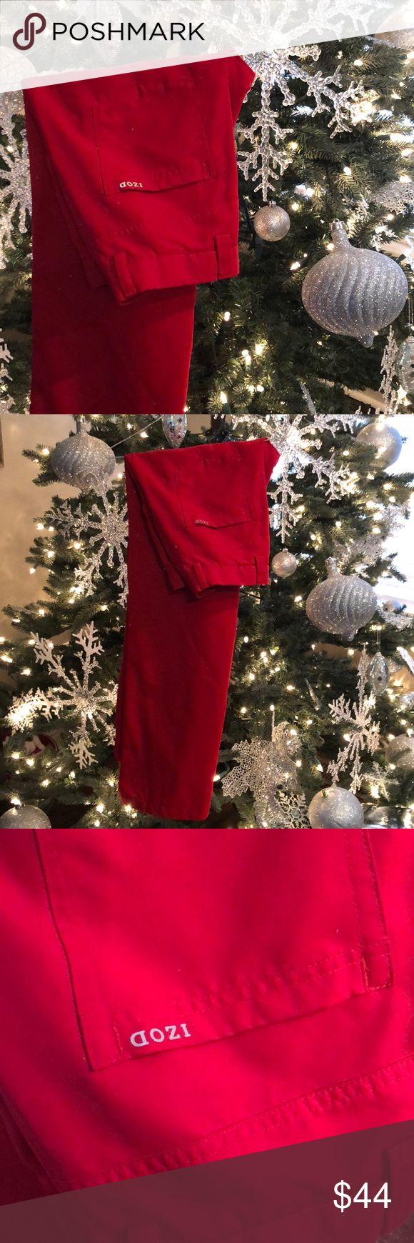 🎅🏻🎄IZOD Christmas red golf pants Sz:32x32🎄🎅🏻 Perfect, like new condition! Size 32x32 red IZOD golf pants perfect for the holidays! Bundle & save!!! 🎄🎅🏻🎁❤️ Izod Pants Dress