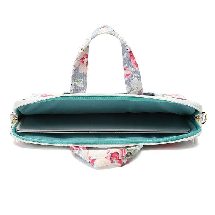 """Canvas Laptop Shoulder Messenger Bag Case For 14""""-15.6"""" Inches Laptop Big Rose #Canvaslove"""