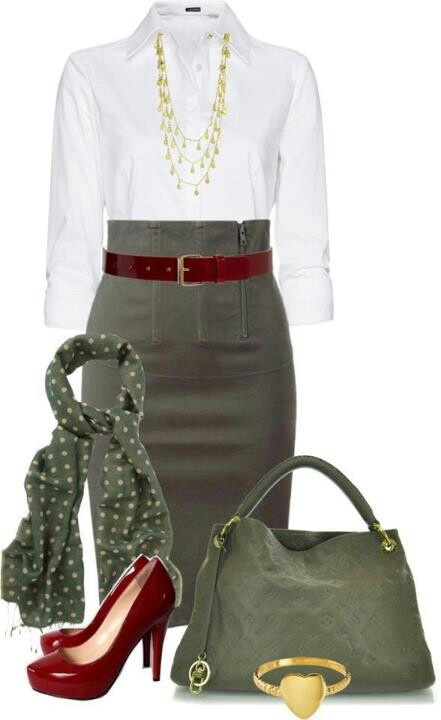 1000+ images about Olive Green Skirt Outfits on Pinterest | Bags Skirts and Ribbon belt
