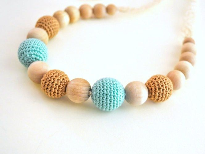 Nursing Necklace/Teething Necklace by SimplyaCircle-Breastfeeding Necklace-Eco-Friendly-Beige Mint-Mother's day