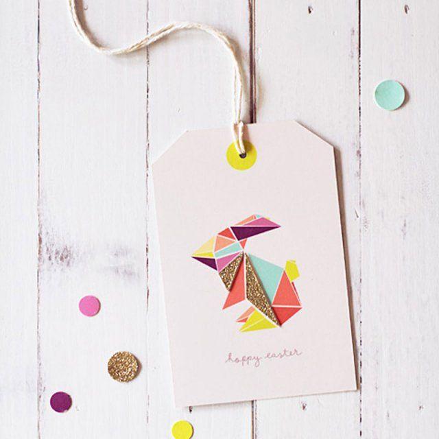 Etiquettes origami lapin / DIY paques / DIY easter
