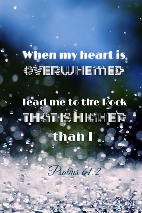 """From the end of the earth will I cry unto thee, when my heart is overwhelmed; lead me to the rock that is higher than I."" Psalms 61:2"