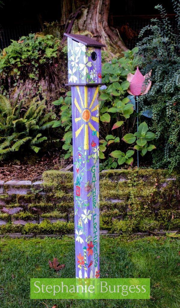Gather Friends Birdhouse Art Pole 6 Foot Garden Poles