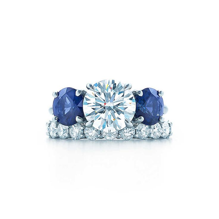 Three Stone With Sapphire Side Stones Engagement Rings | Tiffany & Co.  I've been dreaming of this since I was 7