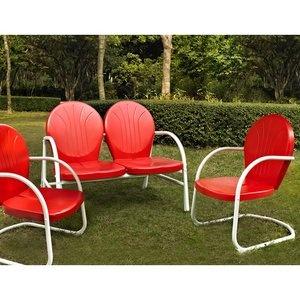 So retro! I might need these!: Crosley Griffith, Converse Seats, Pretty Porches, Seats Sets, Metals Outdoor, Gardens Luvin, 3 Pieces Metals, Outdoor Converse, Conver Seats
