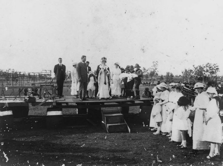 Patriotic Fund - Miss Davis crowned Princess of Boonah Show. Left background is now built up with houses. Right background is now High School, Boonah. WW1 era