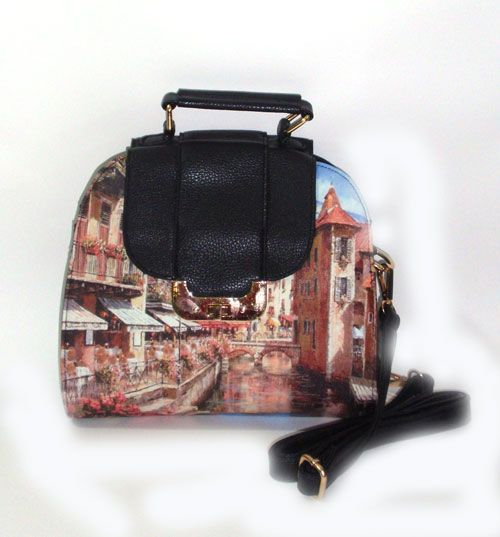 Printed river city on leatherette._fashion woman accessories.