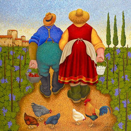 Lowell Herrero, I am drawn to the vibrant colors in his work and I find the people charming ;-)