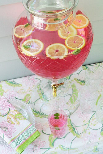 Pretty drink display. Love this for a bridal shower!