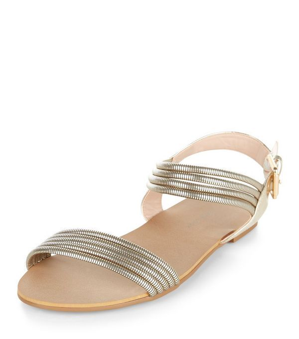 Wide Fit Gold Chain Two Part Sandals | New Look