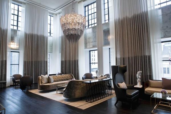 - killer windows and chandelier - Ritz Carlton Residences, Chicago