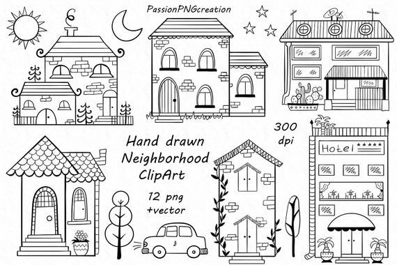 Digital Hand Drawn Neighborhood Clipart Png Vector Doodle Etsy How To Draw Hands Clip Art House Clipart