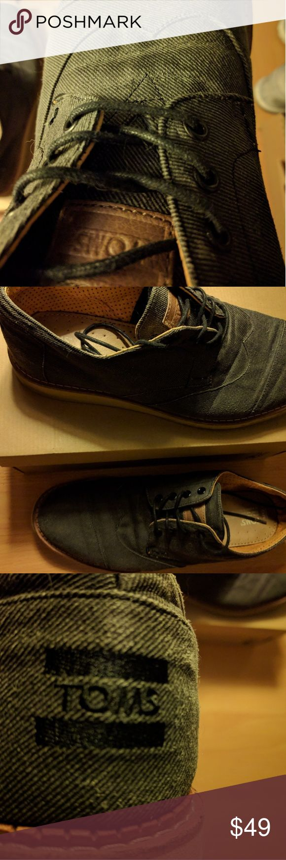 Genuine Tom's Shoes Oxford Lace Ups Gray Size 12 Extremely comfortable Dress/ Casual Shoes in the English Oxford Motif, insuring comfort at any formal event. Size is 12/ Color is Dark Gray/ Wet Asphalt. Please see my other listings, We also carry same shoe in Creme Color. Shoes are Genuine & unworn in New condition, with generic box. Toms Shoes Oxfords & Derbys