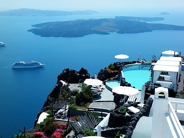 Enjoy romantic views like this everywhere you turn in Santorini ! email me for more info ! livelaughlovetours@yahoo.com