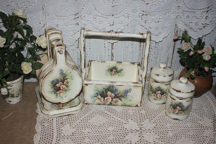Купить Набор на кухню - белый, набор на кухню, баночки для специй, баночки для чая, корзинка для яиц