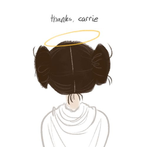 "pinklikeme: ""I ran home and drew this on my lunchbreak because I felt like my world would explode if I didn't. Thanks, Carrie Fisher, for teaching me that girls like us can be princesses, generals, or whatever we want to be. #RIPCarrie """