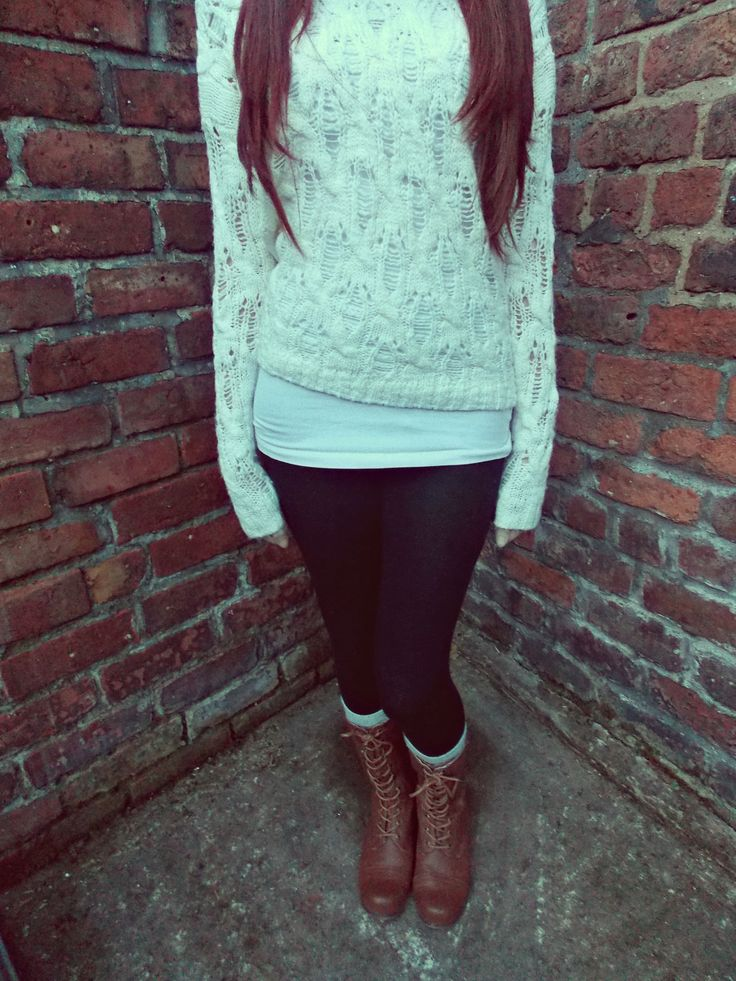 cute sweater �� leggings and combat boots combat boots