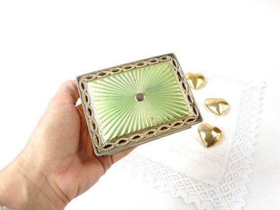 Vintage Trinket Box - Green and Gold Jewelry Box - Green Jewelry Box - Trinket Jewelry Box - Vanity Box - Hinged Box