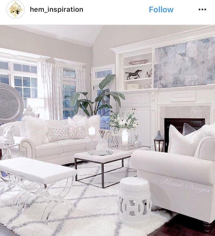 Living Room Decor Inspiration: All White Living Room Inspiration IG @hem_inspiration