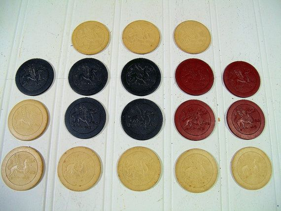Antique Clay Poker Chips with Embossed Dragons Collection of 18 Pieces - Vintage Red, Blue, & Natural Colors Round Ceramic Card Game Coins $94.00 by DivineOrders
