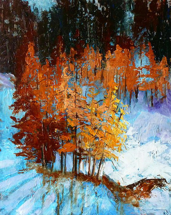 'Wolf - Country' Fine Art Acrylic Mixed Media by Nancy Merkle - beautiful winter abstract painting with trees and snow.