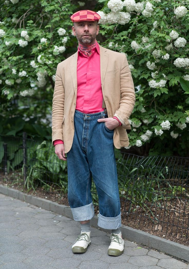 """Jason,45""""I'm wearing a putty-colored Ralph Lauren linen jacket, pink Richard James shirt from an ex, big old Levis with army surplus suspenders, Chinese military shoes called Jiefang Xie, a checkered Kangol by Marc Jacobs and a neck wrap stitched by my momma from an old scarf. I'm a child of the 80's, so I like an outfit… something pulled together in details no matter how casual. Denise Huxtable from """"The Cosby Show"""" had a lasting impact on my point of view.""""May9,2017 ∙ Madison Square"""