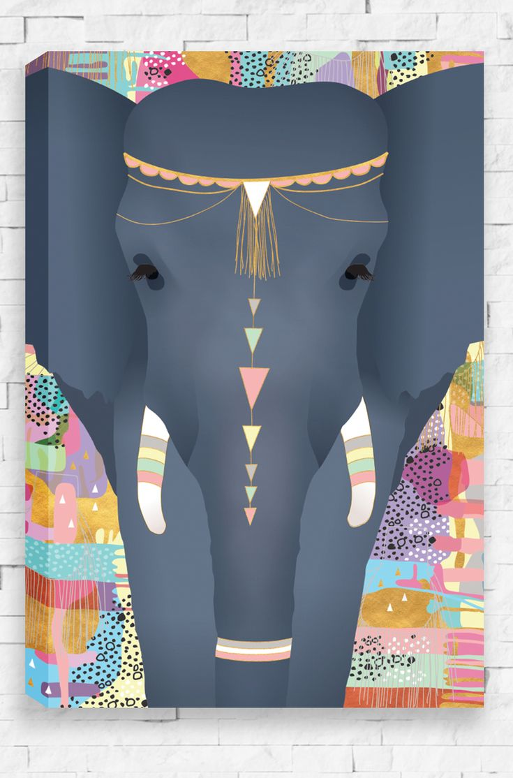 Sweet Dreams canvas is an exquisite portrait of a majestic elephant on an abstract, patterned background.