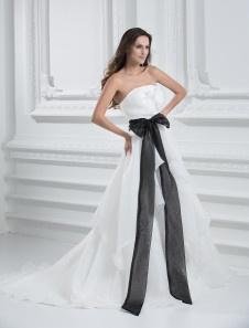 Vestido de novia de Organza de arco sin tirantes del marfil