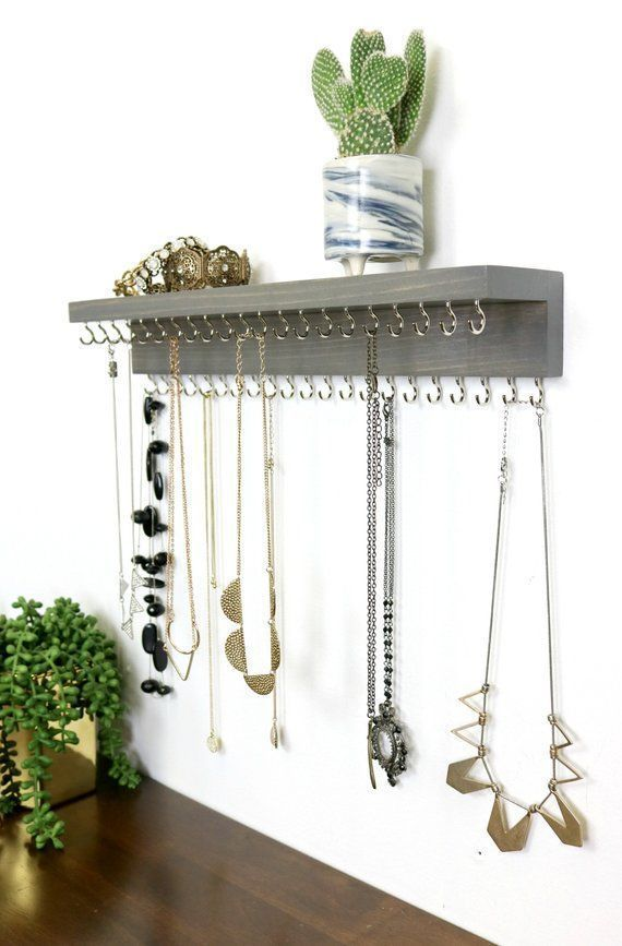 Wall Mount Necklace Holder Jewelry Organizer With Shelf Necklace